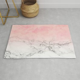 Modern blush pink watercolor ombre white marble Rug
