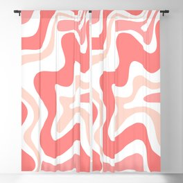 Liquid Swirl Retro Abstract Pattern in Blush Pink and White Blackout Curtain