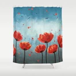 Blue Red Shower Curtains