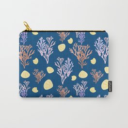 Corals & Shells Seamless Pattern with Deep Blue Background Carry-All Pouch