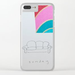 Sunday couch time Clear iPhone Case
