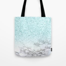 Pretty Turquoise Marble Sparkle Tote Bag