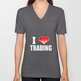 I Love Trading Stocks Forex Trader Heart  Unisex V-Neck