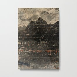 Brick Paint – vintage Brick wall with aged plaster Metal Print
