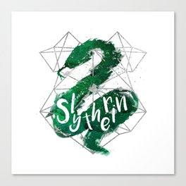 Slytherin Silver Splatter Canvas Print