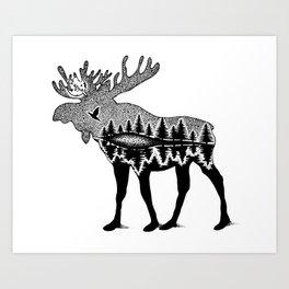 Moose In The Wild Art Print