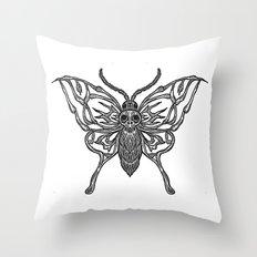 Skeleton Moth Throw Pillow