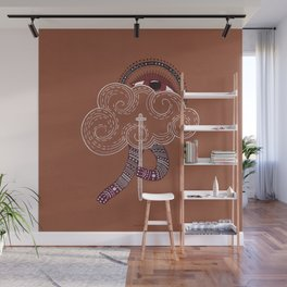 surreal creatue with cloud mask Wall Mural