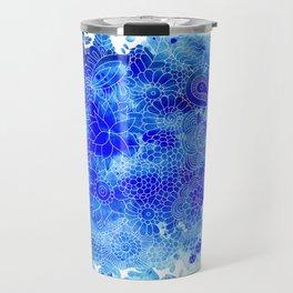 Blue Floral Pattern 02 Travel Mug