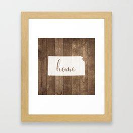 Kansas is Home - White on Wood Framed Art Print