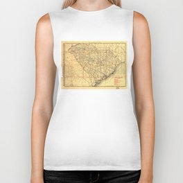 Vintage Map of The South Carolina Railroads (1900)  Biker Tank