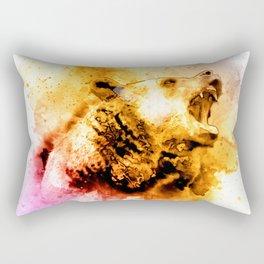Watercolor Bear, Roaring Bear, Rustic Bear Art., Cabin Decor Rectangular Pillow