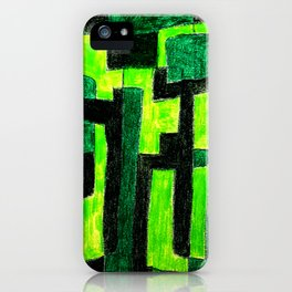 Three Green Puzzle iPhone Case