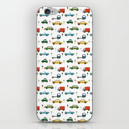 Transport, White, Red and Blue. Cars, Trucks and Bikes. iPhone Skin