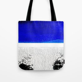 Blue river and a white landscape Tote Bag