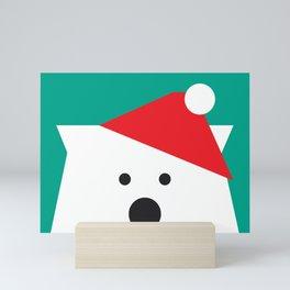 Peek-a-Boo Polar Bear, Green & Red Mini Art Print