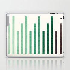 Deep Green Aquamarine Minimalist Mid-century Modern Stripe Pattern Art Staggered Stripes Laptop & iPad Skin