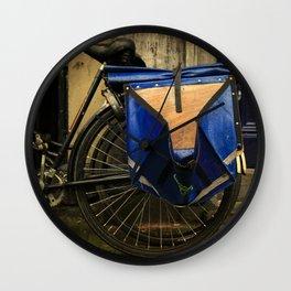 Amsterdam Dutch Bikes: The Blue Saddle Bag Wall Clock