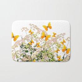 WHITE ART GARDEN ART OF YELLOW BUTTERFLIES Bath Mat
