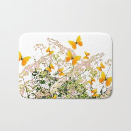 WHITE ART GARDEN ART OF YELLOW BUTTERFLIES Bath Mat