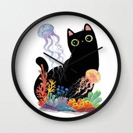 the Aquarium Cat _ Jellyfish Wall Clock