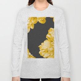 Yellow Flowers On A Dark Background #decor #society6 #buyart Long Sleeve T-shirt