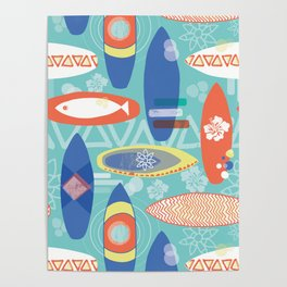 Vintage Surfboards Pattern Poster
