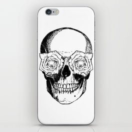 Skull and Roses | Black and White iPhone Skin