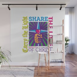 Carry the Light of Christ - White Background Wall Mural