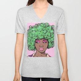 Green Kawaii Black Comic Girl Unisex V-Neck