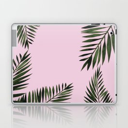 Watercolor tropical palm leaves pink Laptop & iPad Skin