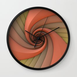 Spiral in Earth Tones Wall Clock