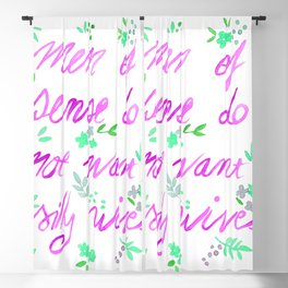 Men of sense do not want silly wives - Fuchsia  & Green Palette Blackout Curtain