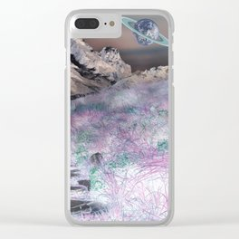 Cobble Stone Road Through The Mountains Towards Saturn Clear iPhone Case