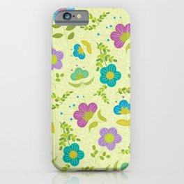 Round Blue Purple Mint Flowers On Soft Green Leaves (pattern) iPhone Case