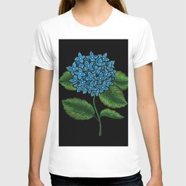 Embroidered Flowers on Black 05 T-shirt
