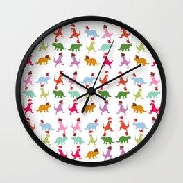 Colorful Dinosaurs Christmas Mood  Wall Clock