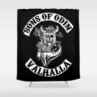 vikings Shower Curtains featuring Sons of Odin Vikings Inspired by vie3