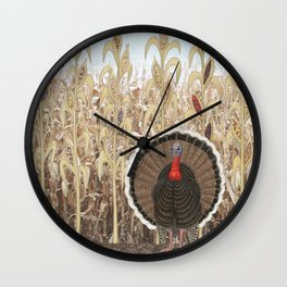 wild turkey & Indian corn Wall Clock