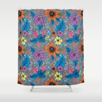 70s Shower Curtains featuring 70s floral by Lara Gurney