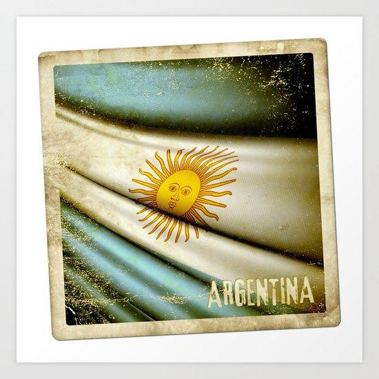 Grunge sticker of Argentina flag Art Print