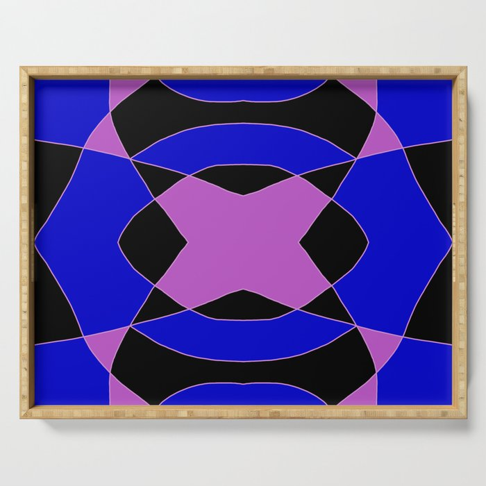 Abstract Purple Blue Pink Black Church Window Serving Tray