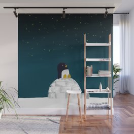 Star gazing - Penguin's dream of flying Wall Mural