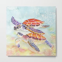 Swimming Together - Sea Turtle Metal Print