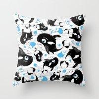 killer whale Throw Pillows featuring Cute Killer Whale by markmurphycreative