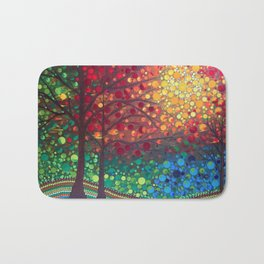 Winter sunset dot art by Mandalaole Bath Mat