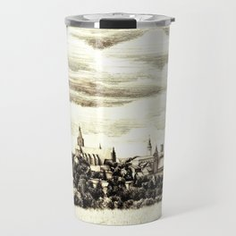 PANORAMA OF A GOTHIC CITY CHELMNO IN POLAND MADE IN FIGURATIVE STYLE Travel Mug