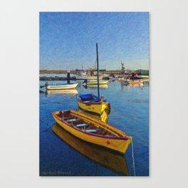Yellow fishing boat, Santa Luzia, Portugal Canvas Print
