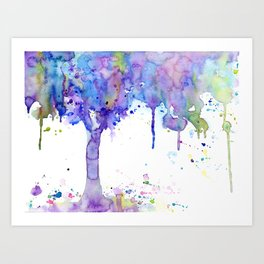 Watercolor Abstract Purple Tree Art Print