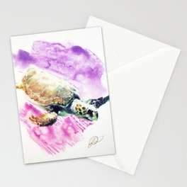 Sea Turtle in Pink and Purple Stationery Cards